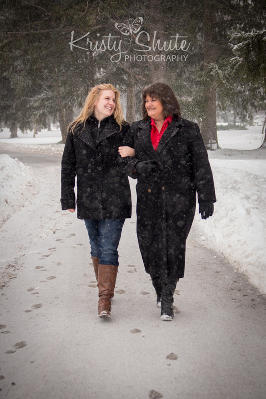 Mother Daughter Victoria Park Kitchener Family Photography Winter Snow Park Path
