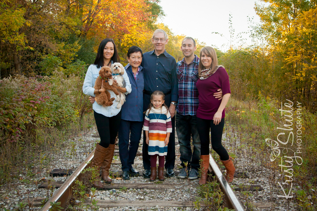 Kristy Shute Photography, Kitchener Fall Family Photography, Victoria Park, Extended Family, Train Tracks