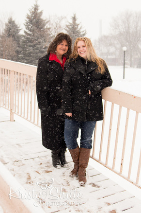 Mother Daughter Victoria Park Kitchener Family Photography Bridge Winter Snow